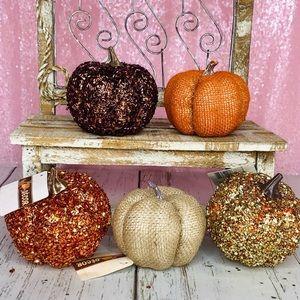 🧡🍁5 Fall Harvest Pumpkins Burlap Home Decor!